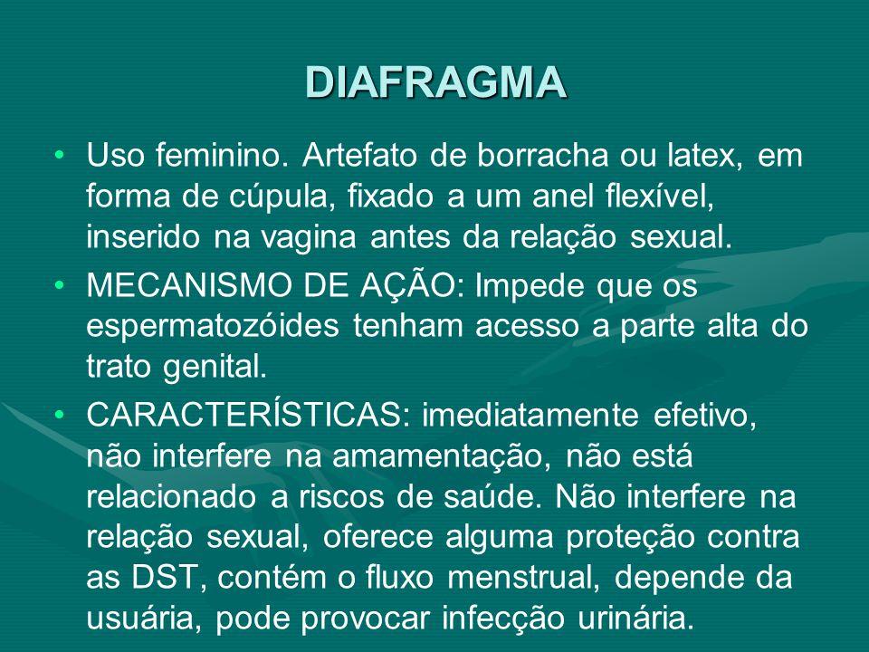 DIAFRAGMA Uso feminino. Artefato de borracha ou latex, em forma de cúpula, fixado a um anel flexível, inserido na vagina antes da relação sexual.