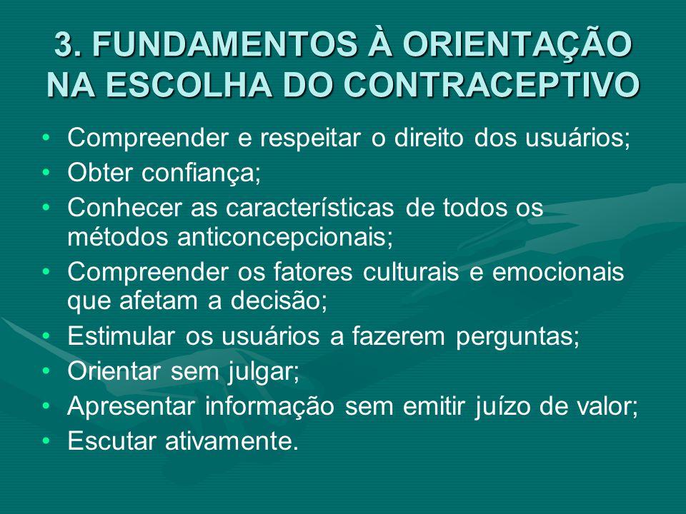 3. FUNDAMENTOS À ORIENTAÇÃO NA ESCOLHA DO CONTRACEPTIVO