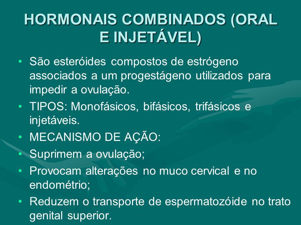 HORMONAIS COMBINADOS (ORAL E INJETÁVEL)