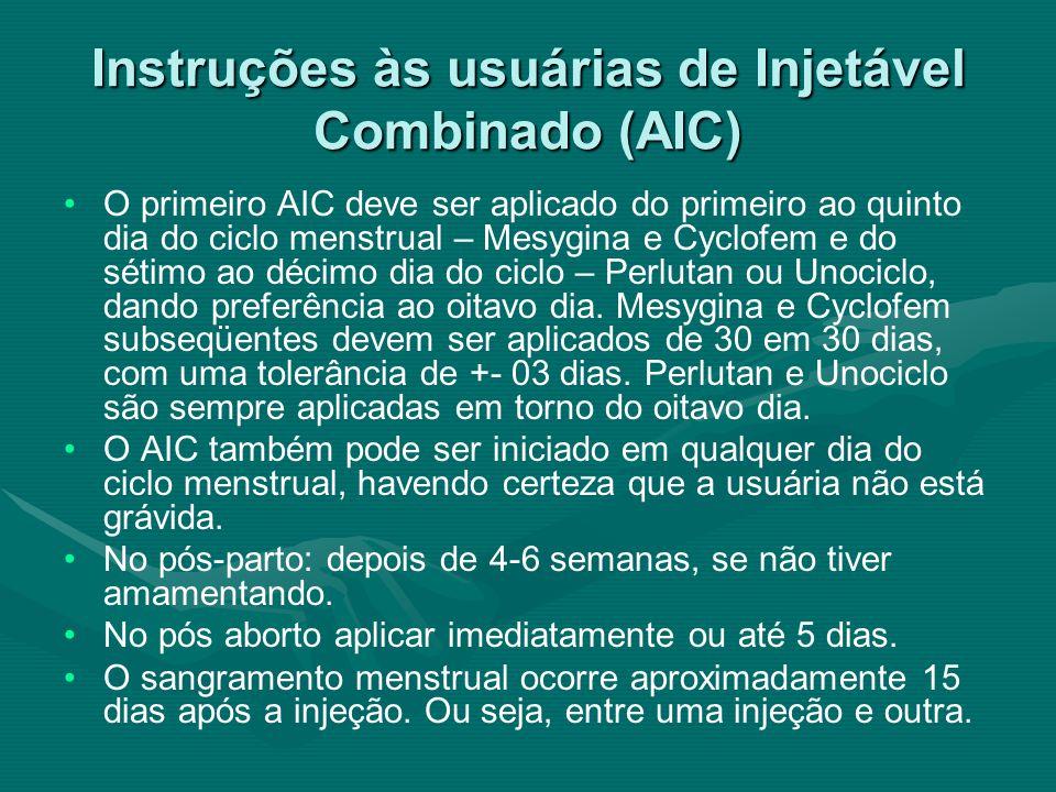 Instruções às usuárias de Injetável Combinado (AIC)