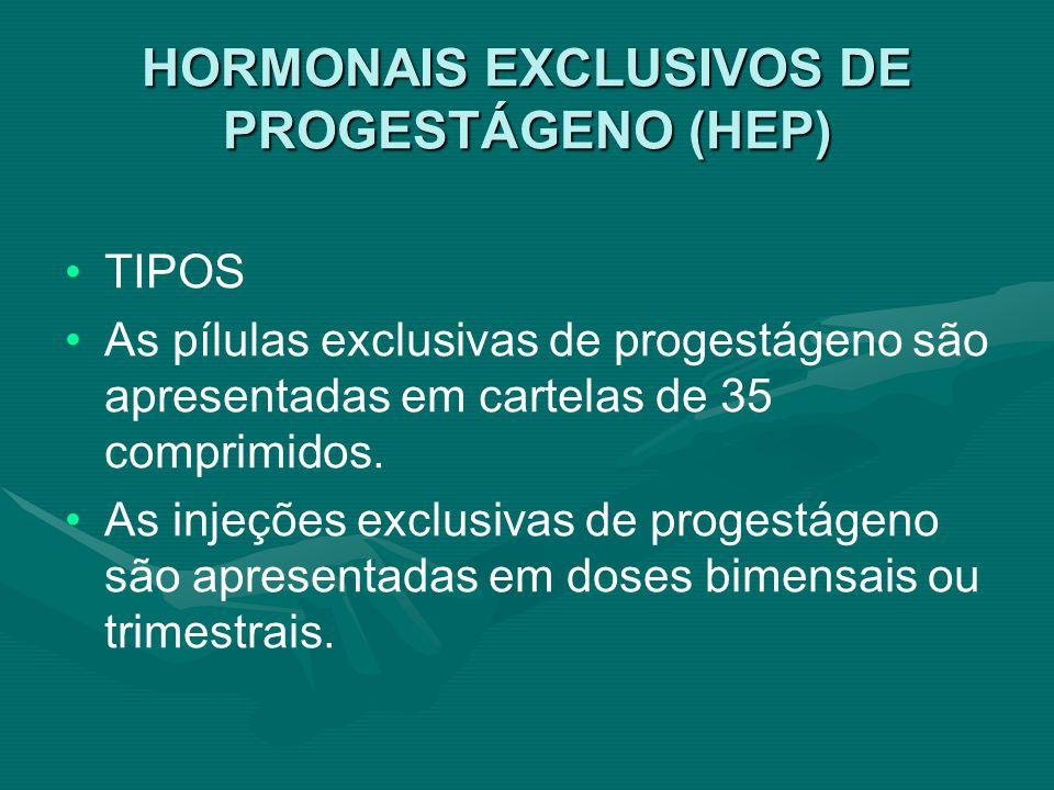 HORMONAIS EXCLUSIVOS DE PROGESTÁGENO (HEP)