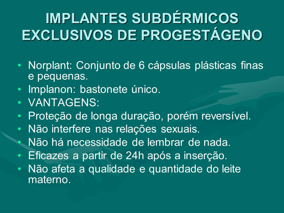 IMPLANTES SUBDÉRMICOS EXCLUSIVOS DE PROGESTÁGENO