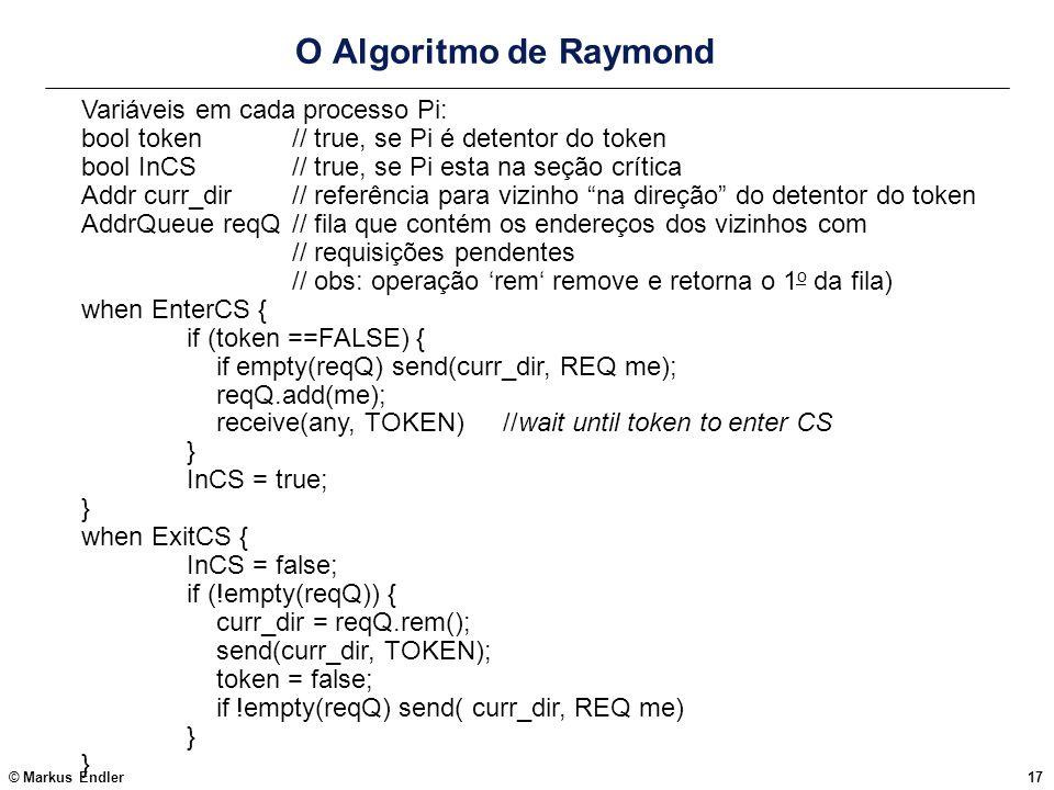 O Algoritmo de Raymond Variáveis em cada processo Pi:
