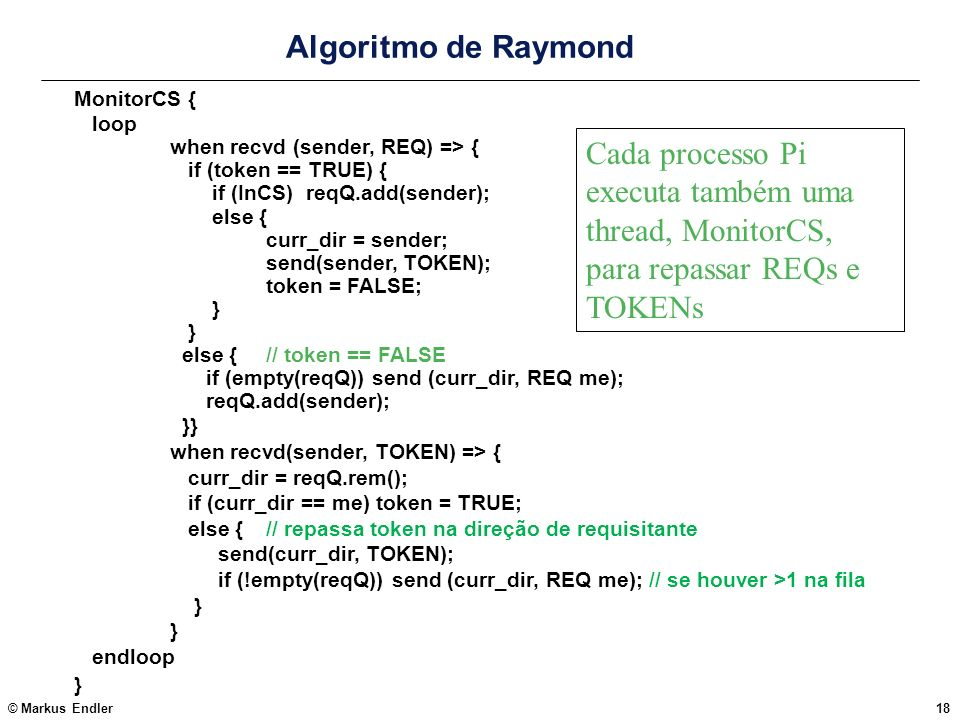 Algoritmo de Raymond MonitorCS { loop. when recvd (sender, REQ) => { if (token == TRUE) { if (InCS) reqQ.add(sender);