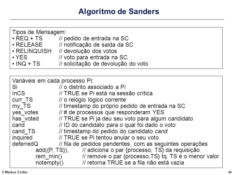 Algoritmo de Sanders Tipos de Mensagem: