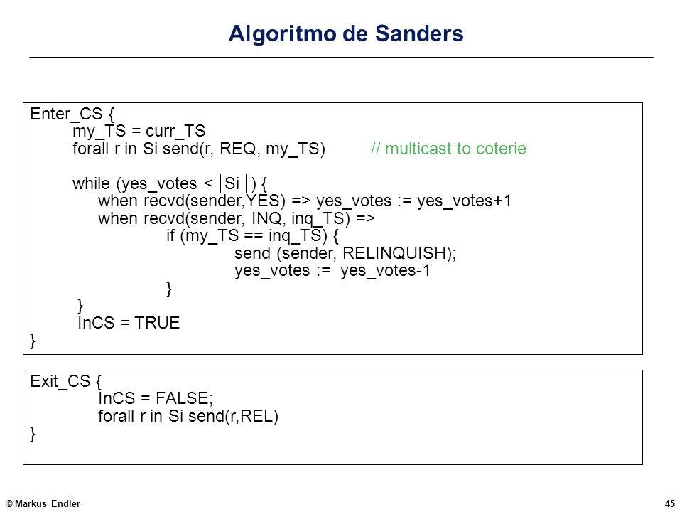 Algoritmo de Sanders Enter_CS { my_TS = curr_TS