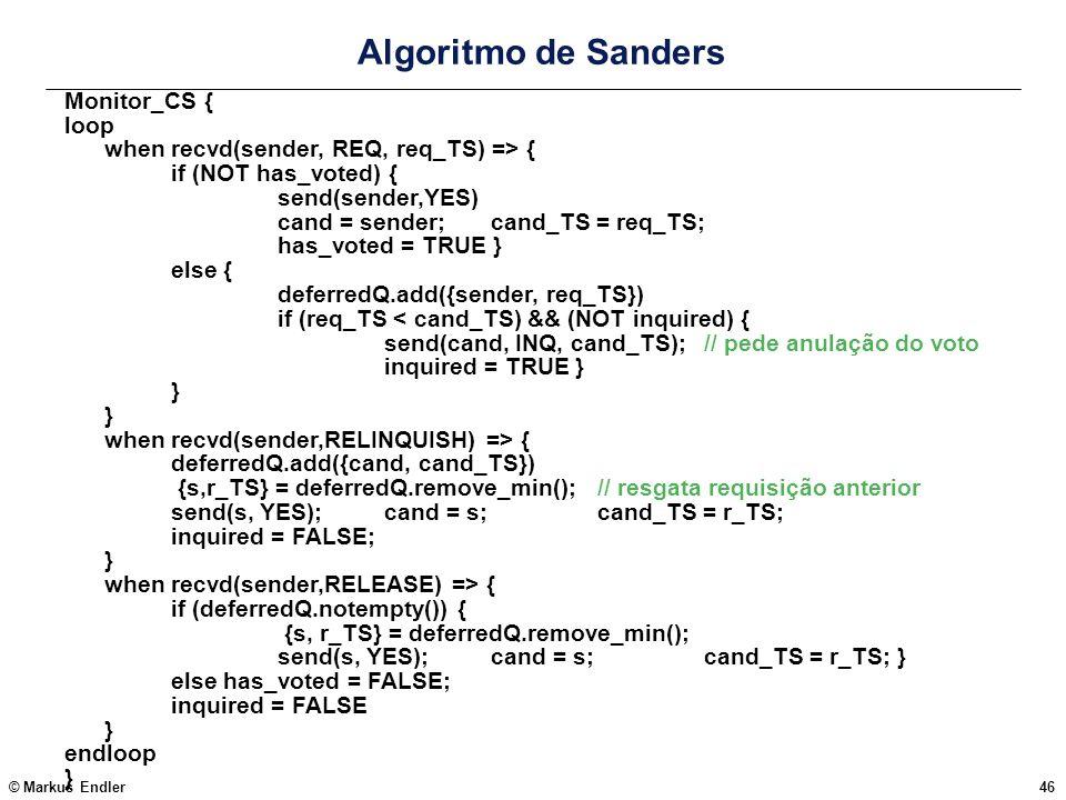 Algoritmo de Sanders Monitor_CS { loop