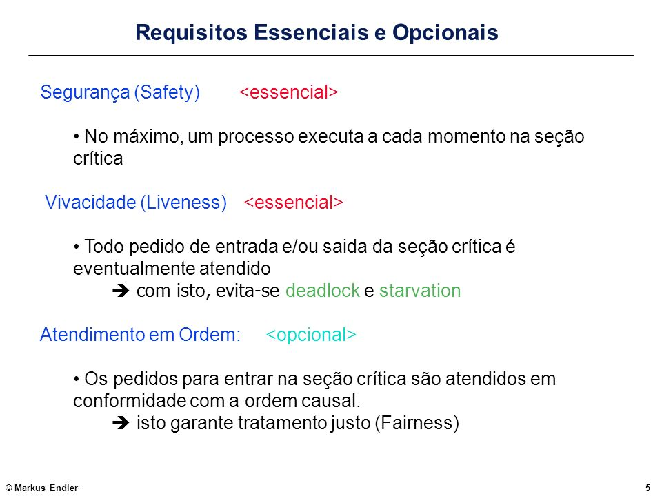Requisitos Essenciais e Opcionais