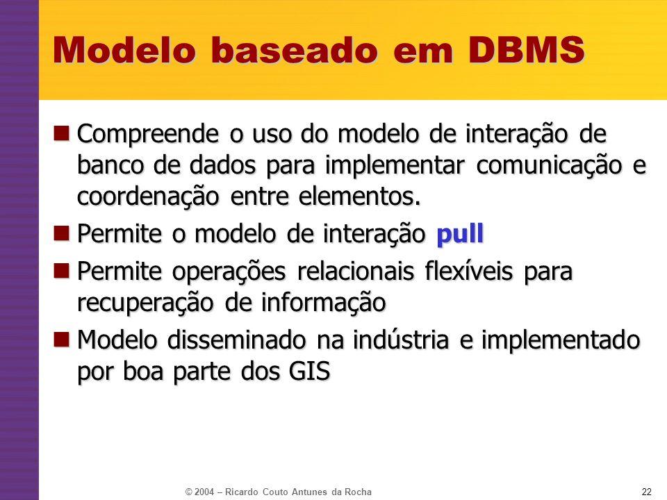 Modelo baseado em DBMSCompreende o uso do modelo de interação de banco de dados para implementar comunicação e coordenação entre elementos.