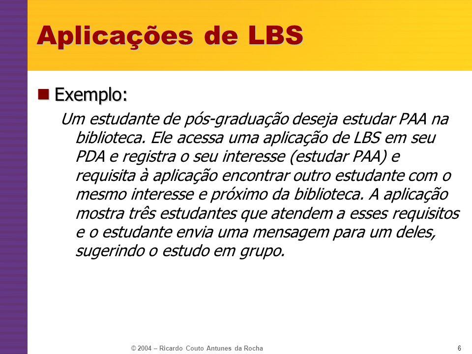 Aplicações de LBS Exemplo: