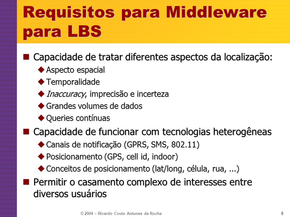 Requisitos para Middleware para LBS