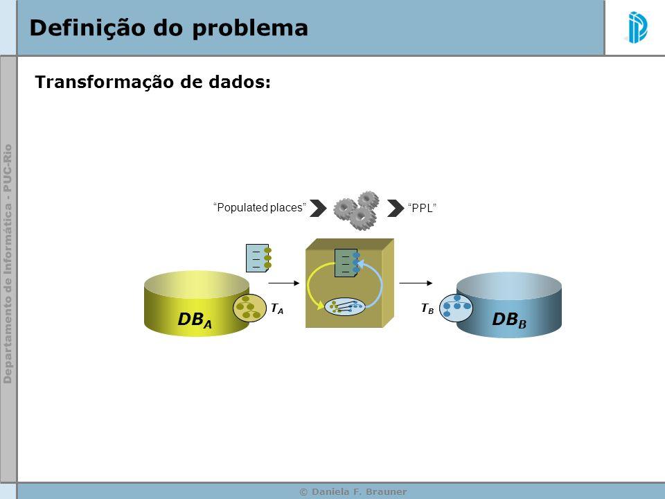 Definição do problema Transformação de dados: DBA DBB
