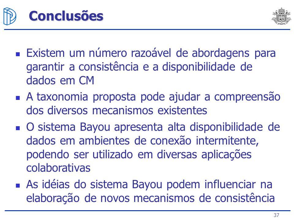 Conclusões Existem um número razoável de abordagens para garantir a consistência e a disponibilidade de dados em CM.
