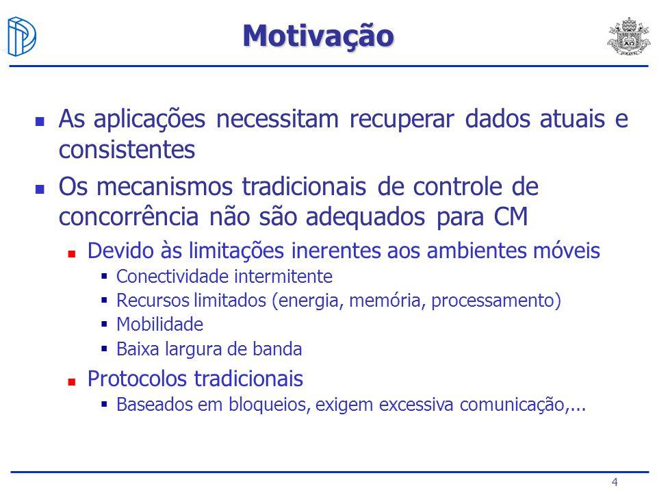 Motivação As aplicações necessitam recuperar dados atuais e consistentes.