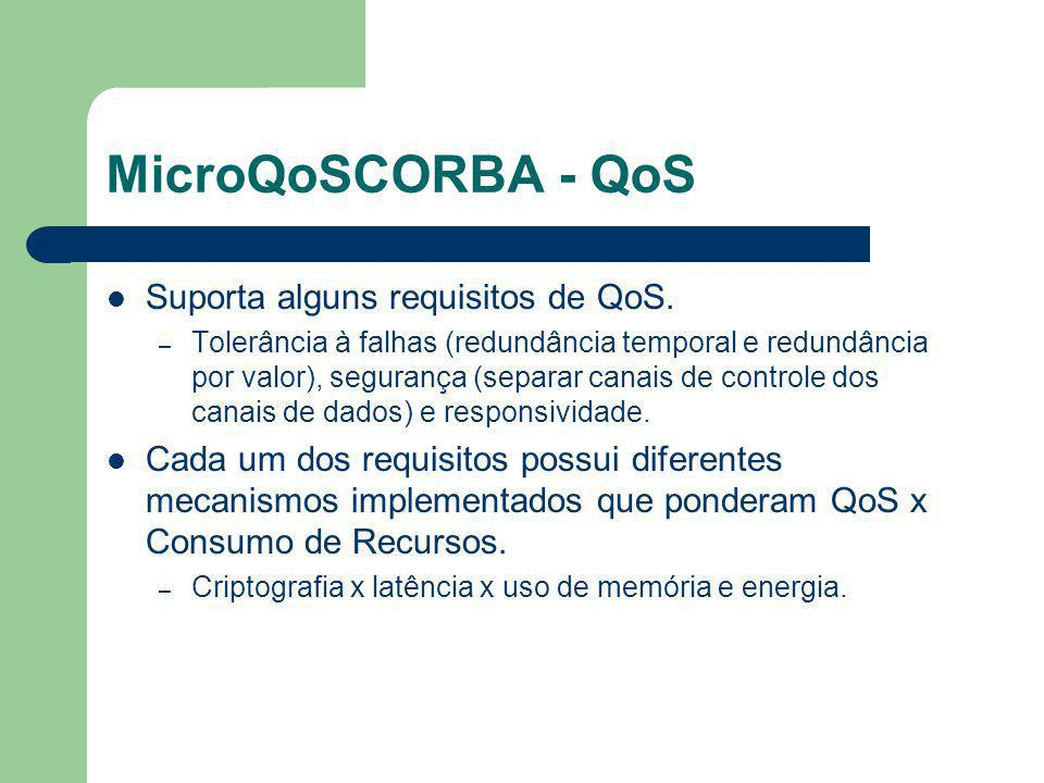 MicroQoSCORBA - QoS Suporta alguns requisitos de QoS.