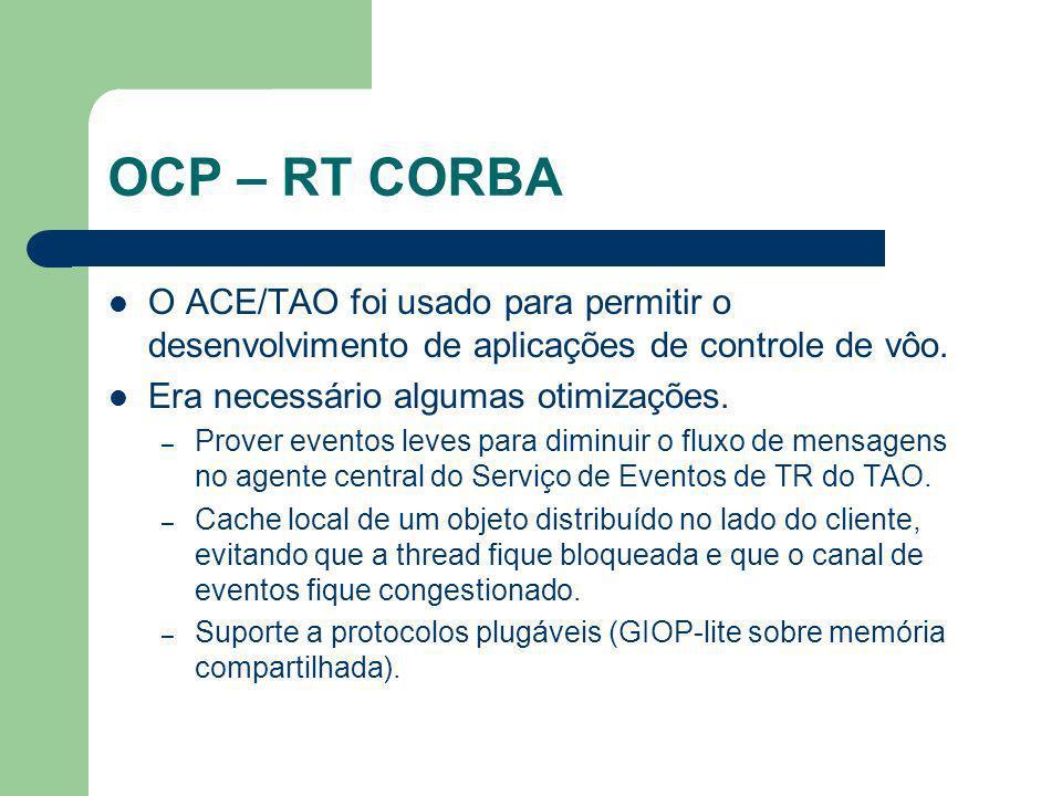 OCP – RT CORBA O ACE/TAO foi usado para permitir o desenvolvimento de aplicações de controle de vôo.