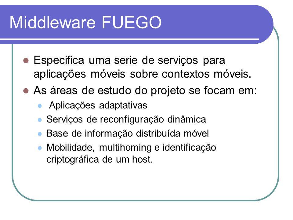 Middleware FUEGO Especifica uma serie de serviços para aplicações móveis sobre contextos móveis. As áreas de estudo do projeto se focam em: