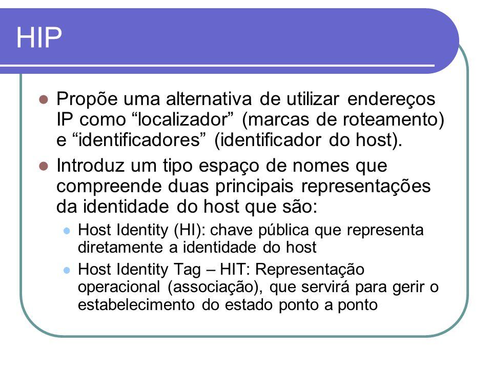 HIP Propõe uma alternativa de utilizar endereços IP como localizador (marcas de roteamento) e identificadores (identificador do host).