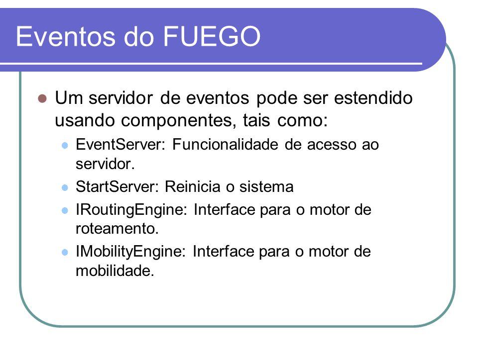 Eventos do FUEGO Um servidor de eventos pode ser estendido usando componentes, tais como: EventServer: Funcionalidade de acesso ao servidor.