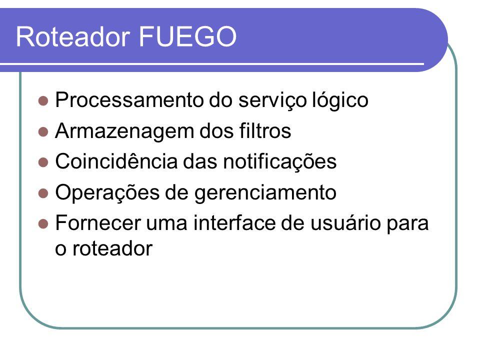 Roteador FUEGO Processamento do serviço lógico Armazenagem dos filtros