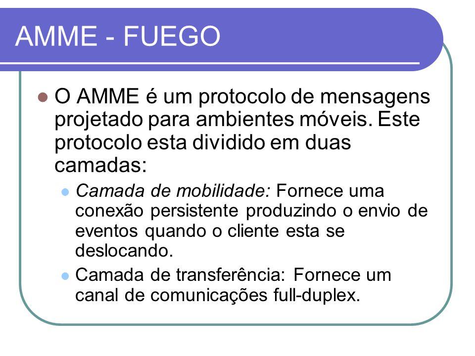 AMME - FUEGO O AMME é um protocolo de mensagens projetado para ambientes móveis. Este protocolo esta dividido em duas camadas: