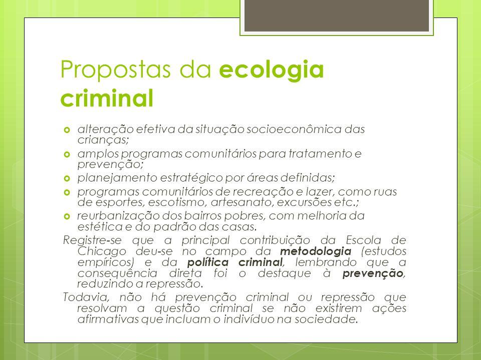 Propostas da ecologia criminal