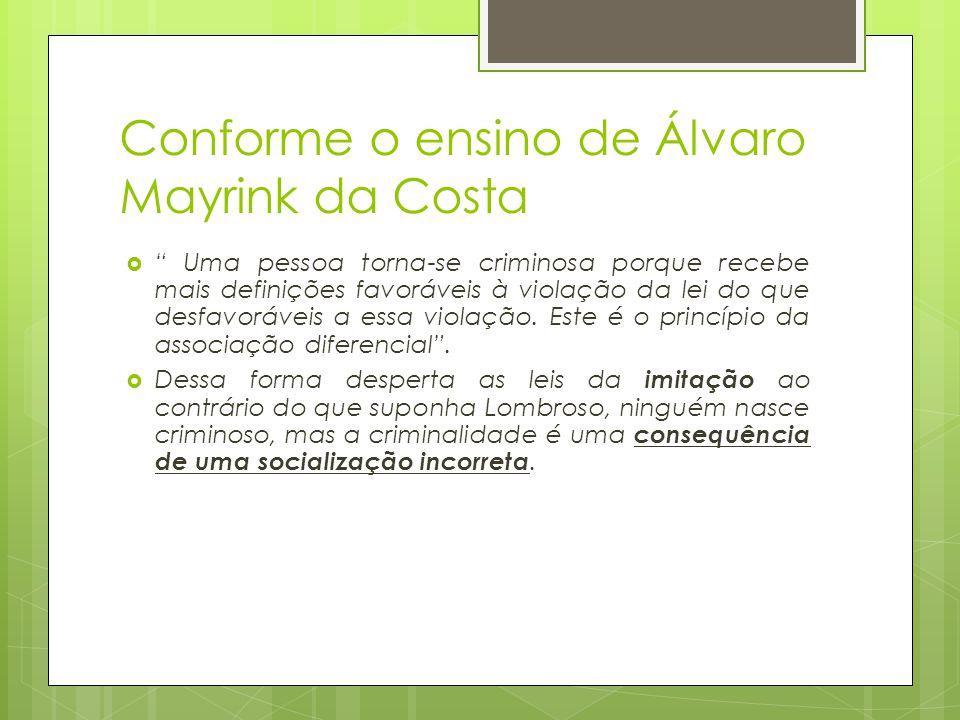Conforme o ensino de Álvaro Mayrink da Costa