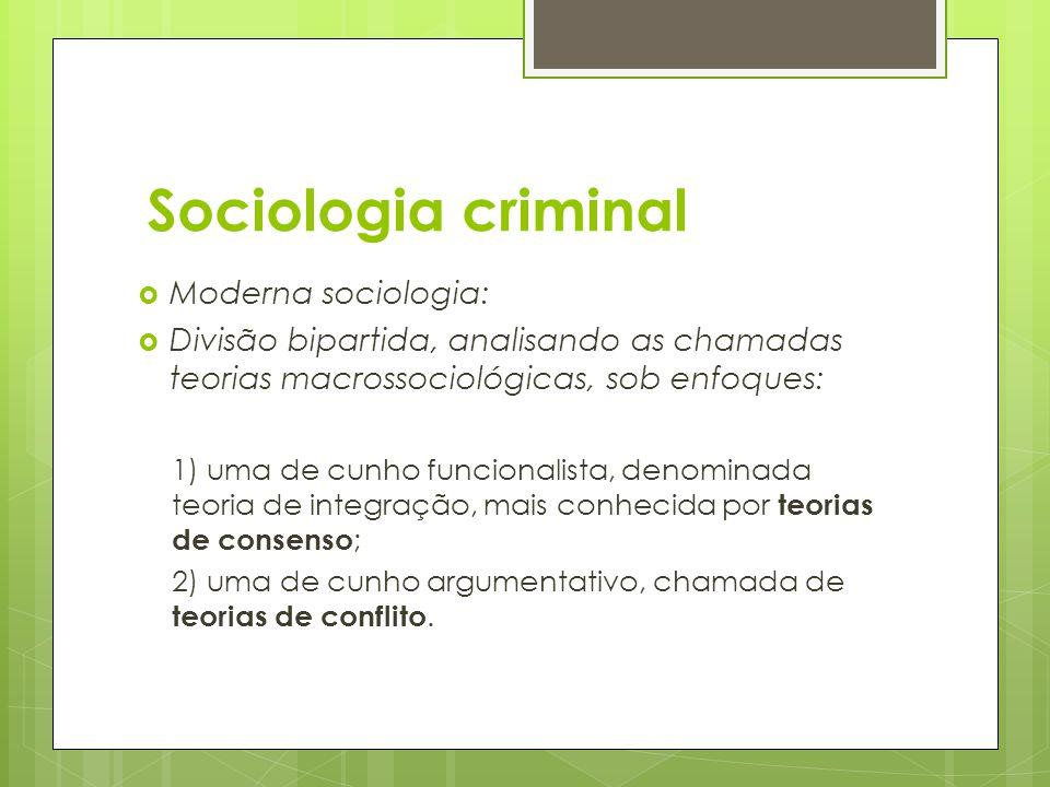 Sociologia criminal Moderna sociologia: