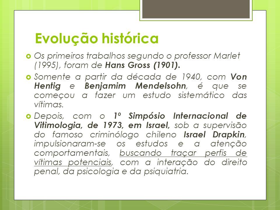 Evolução histórica Os primeiros trabalhos segundo o professor Marlet (1995), foram de Hans Gross (1901).