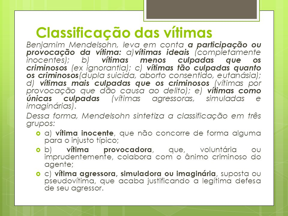 Classificação das vítimas
