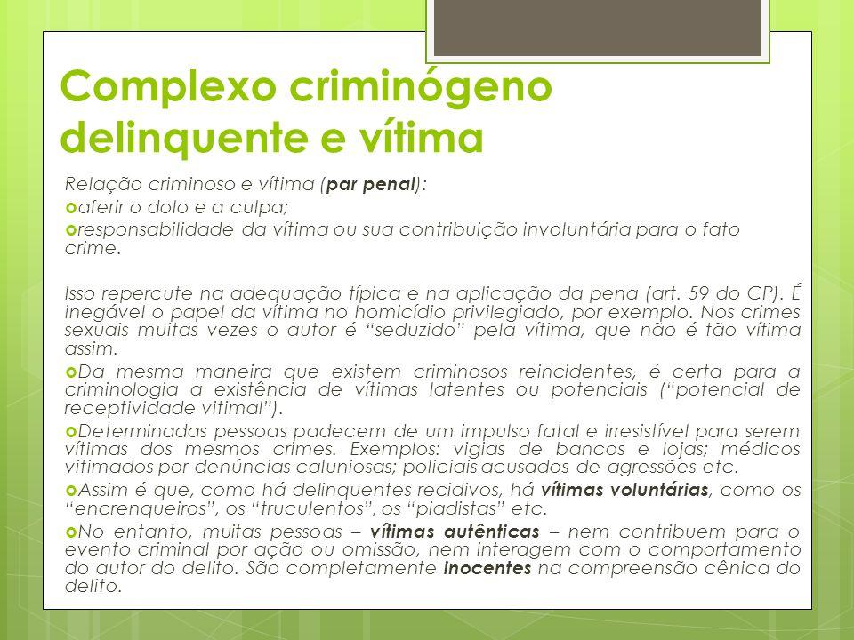 Complexo criminógeno delinquente e vítima
