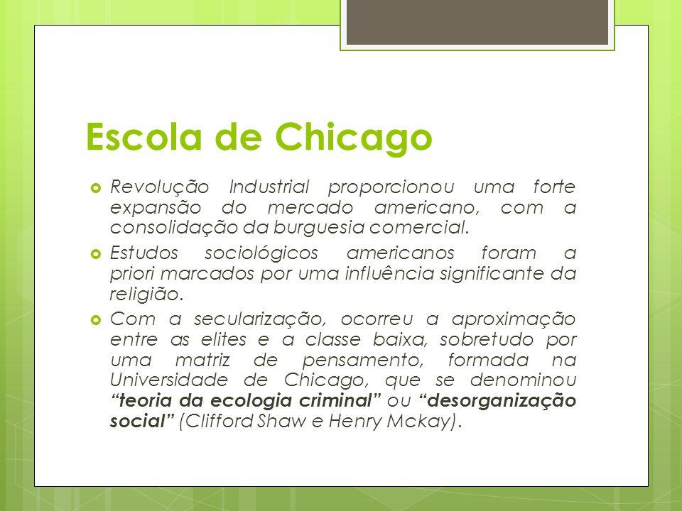 Escola de Chicago Revolução Industrial proporcionou uma forte expansão do mercado americano, com a consolidação da burguesia comercial.