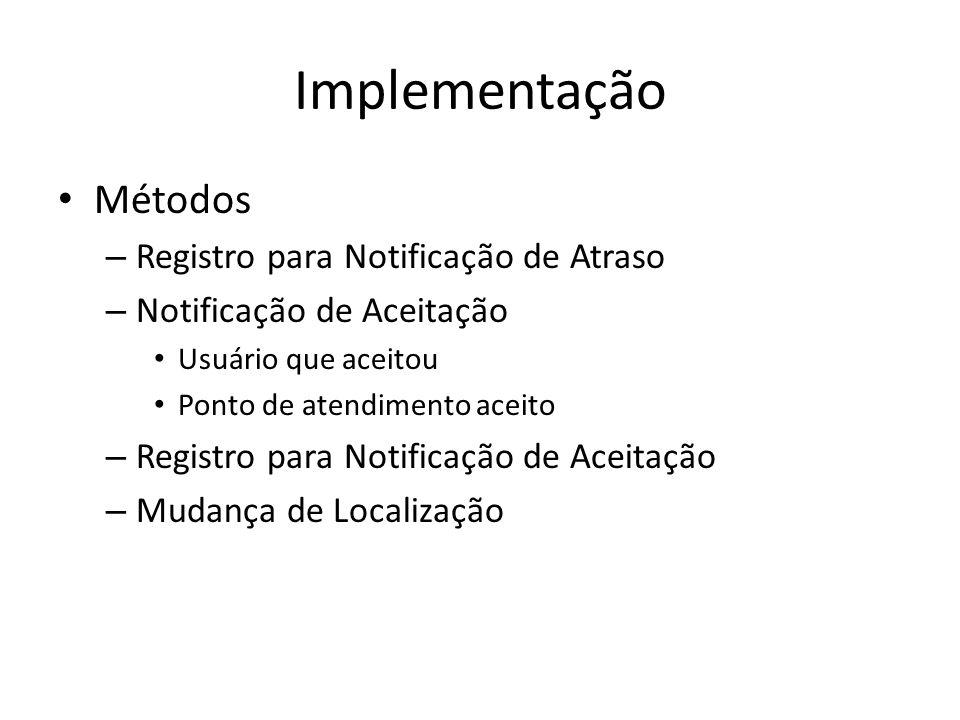 Implementação Métodos Registro para Notificação de Atraso