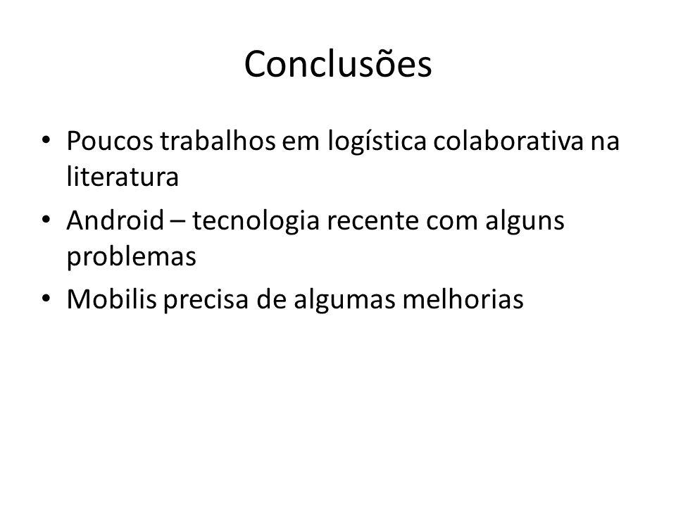 Conclusões Poucos trabalhos em logística colaborativa na literatura