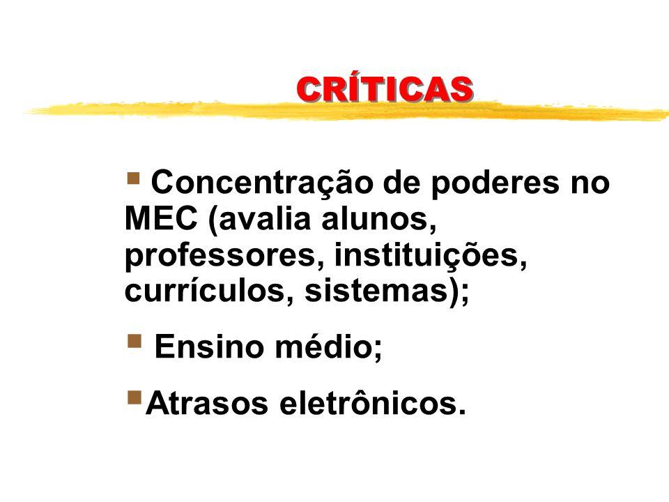 CRÍTICAS Ensino médio; Atrasos eletrônicos.