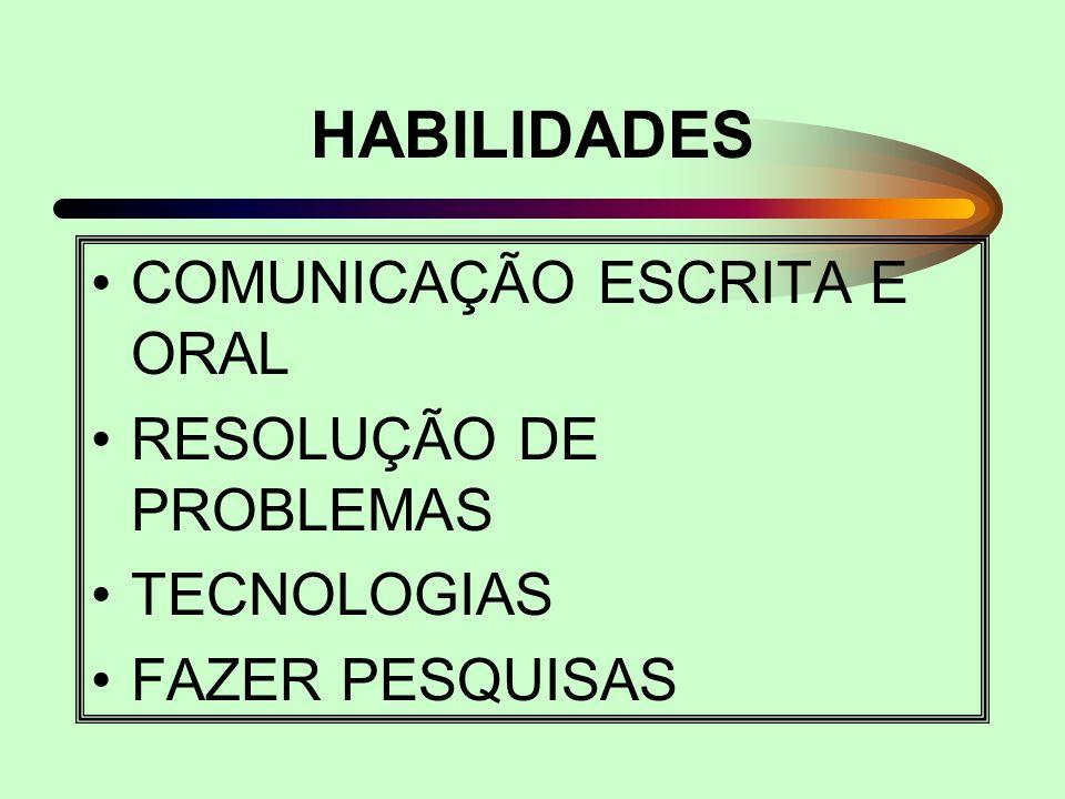 HABILIDADES COMUNICAÇÃO ESCRITA E ORAL RESOLUÇÃO DE PROBLEMAS