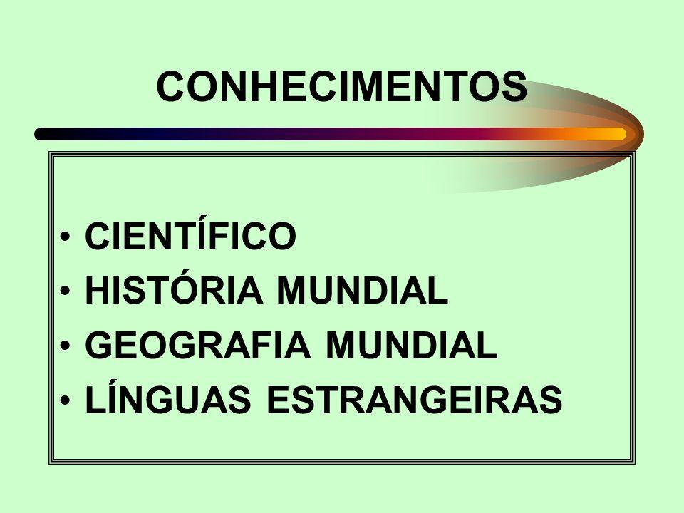 CONHECIMENTOS CIENTÍFICO HISTÓRIA MUNDIAL GEOGRAFIA MUNDIAL