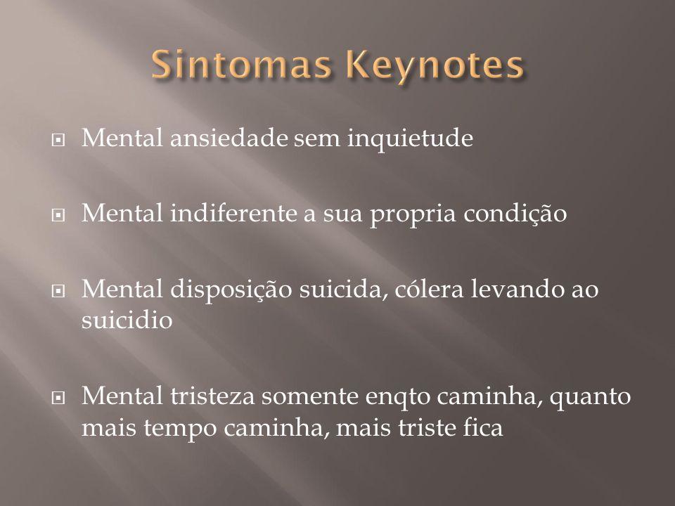 Sintomas Keynotes Mental ansiedade sem inquietude