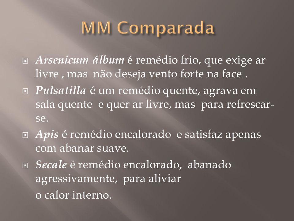 MM Comparada Arsenicum álbum é remédio frio, que exige ar livre , mas não deseja vento forte na face .