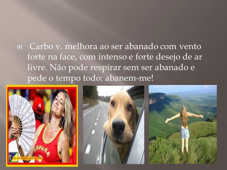 Carbo v. melhora ao ser abanado com vento forte na face, com intenso e forte desejo de ar livre.