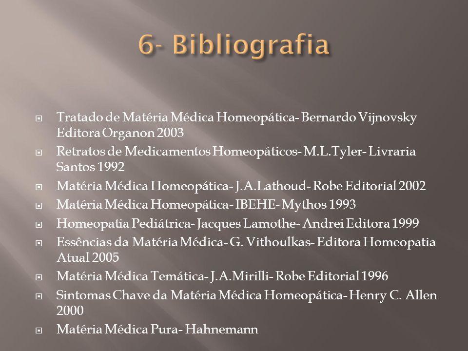 6- Bibliografia Tratado de Matéria Médica Homeopática- Bernardo Vijnovsky Editora Organon 2003.