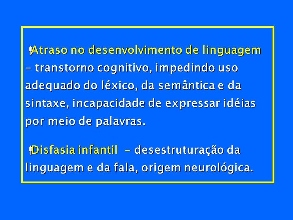Atraso no desenvolvimento de linguagem - transtorno cognitivo, impedindo uso adequado do léxico, da semântica e da sintaxe, incapacidade de expressar idéias por meio de palavras.