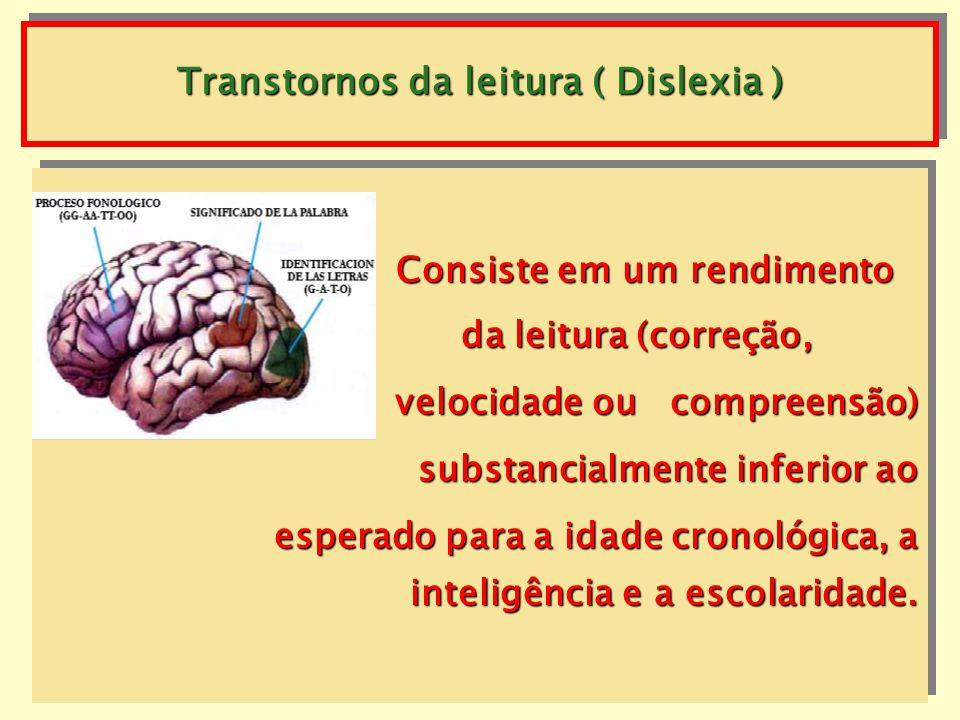 Transtornos da leitura ( Dislexia ) Consiste em um rendimento