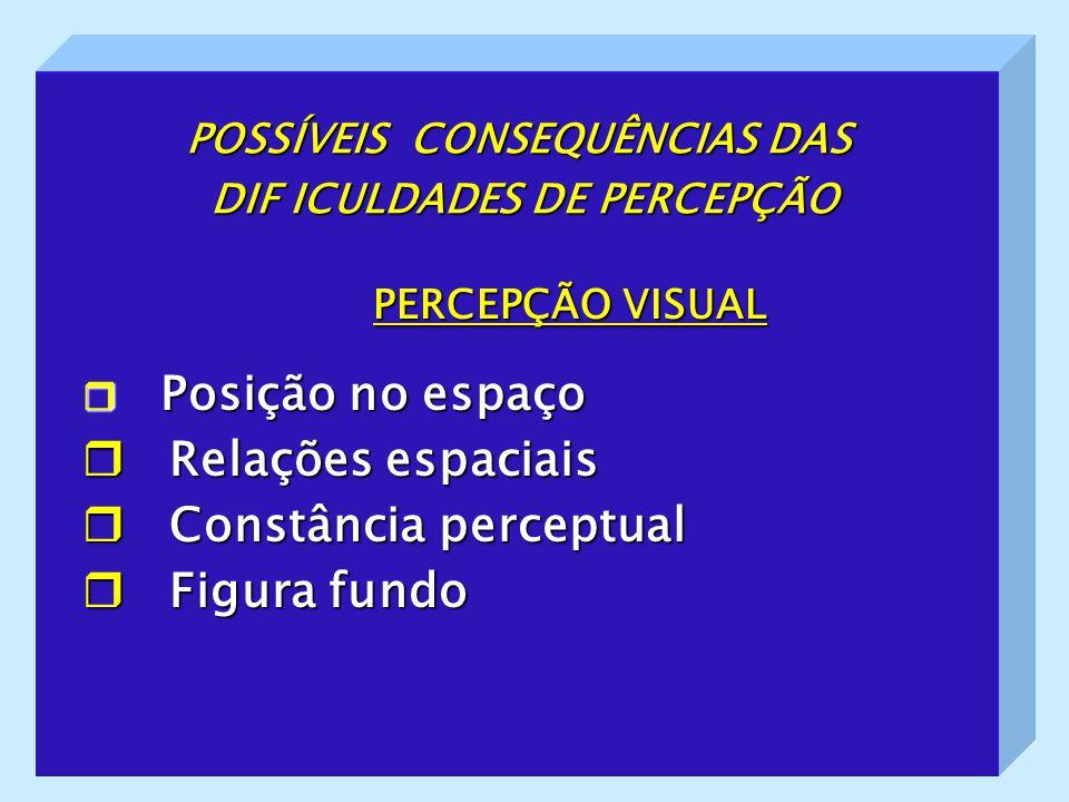 POSSÍVEIS CONSEQUÊNCIAS DAS DIF ICULDADES DE PERCEPÇÃO