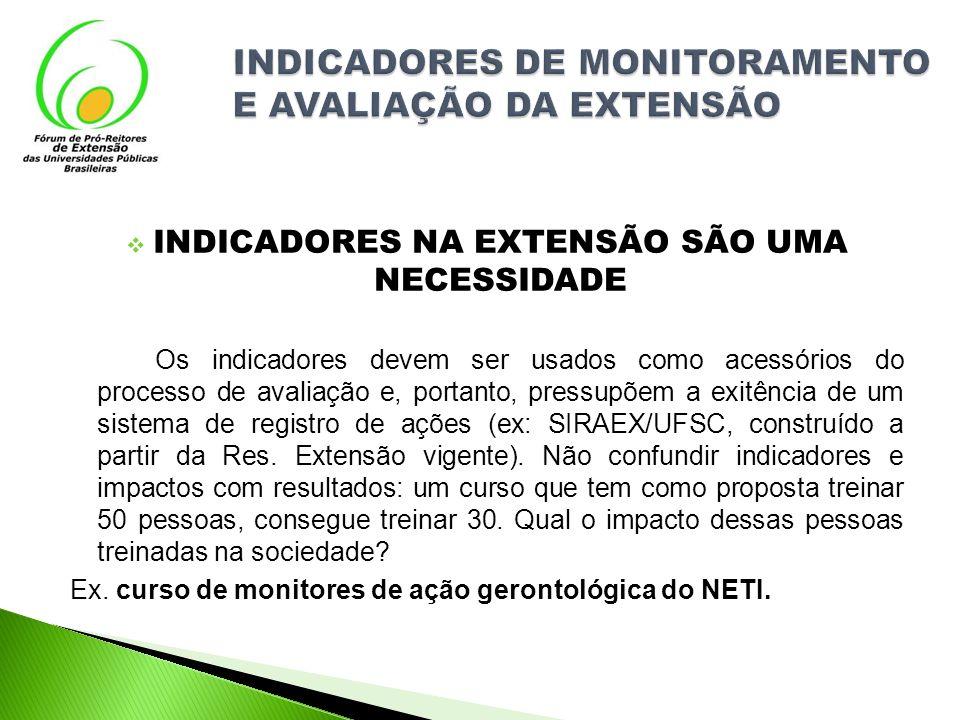 INDICADORES NA EXTENSÃO SÃO UMA NECESSIDADE