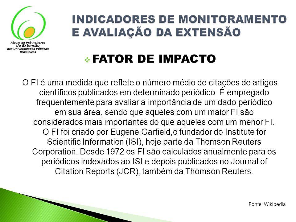 FATOR DE IMPACTO INDICADORES DE MONITORAMENTO E AVALIAÇÃO DA EXTENSÃO