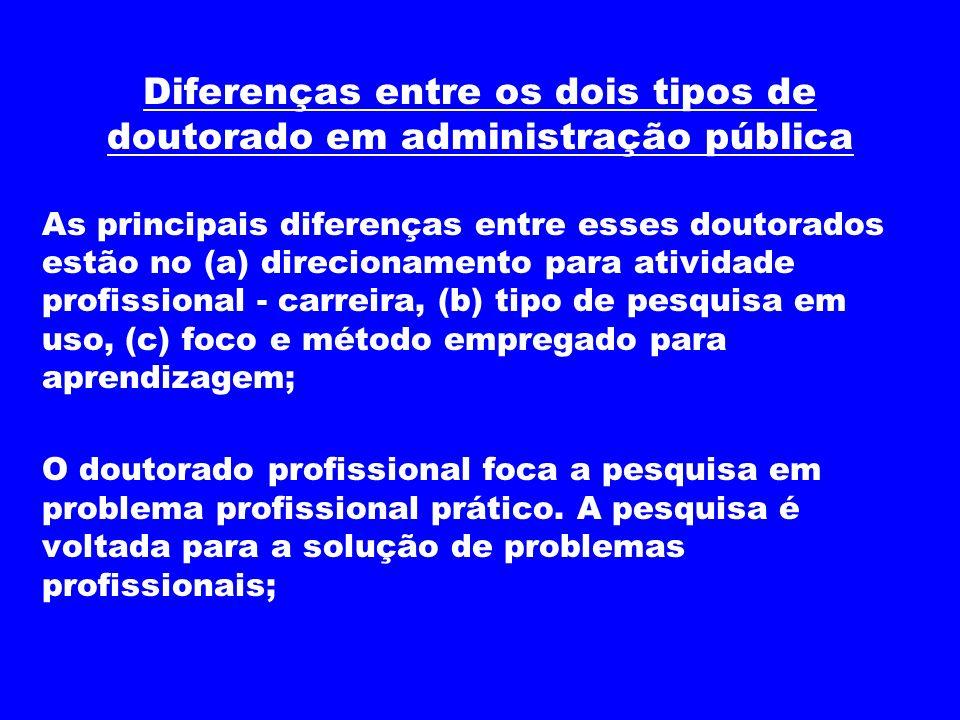 Diferenças entre os dois tipos de doutorado em administração pública
