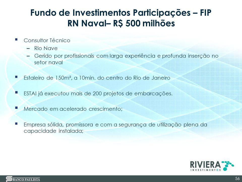 Fundo de Investimentos Participações – FIP RN Naval– R$ 500 milhões