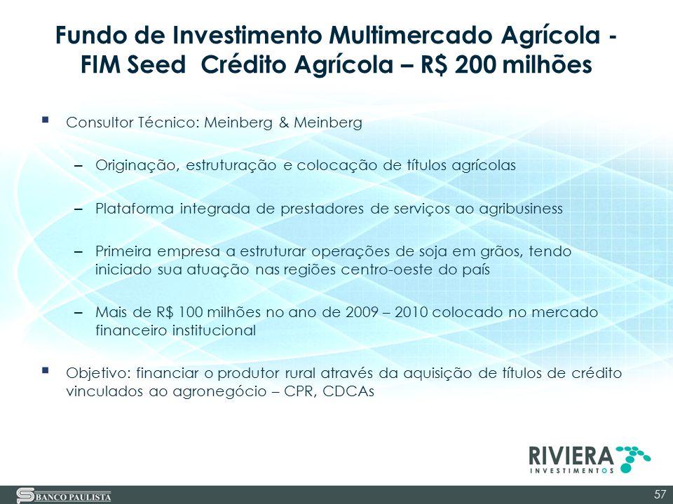 Fundo de Investimento Multimercado Agrícola - FIM Seed Crédito Agrícola – R$ 200 milhões