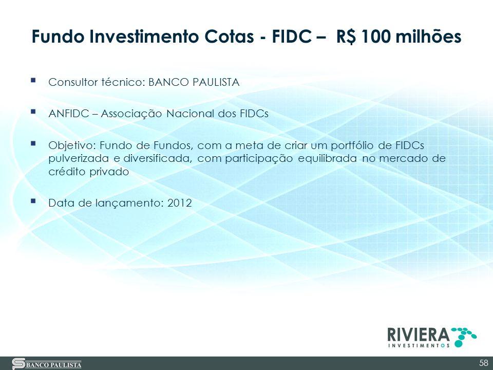 Fundo Investimento Cotas - FIDC – R$ 100 milhões